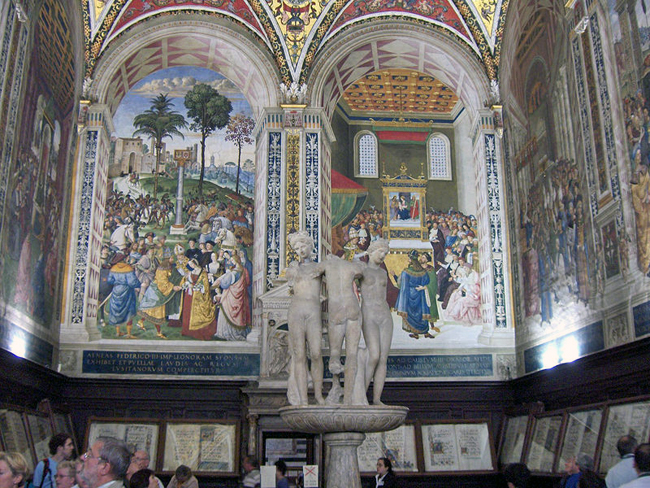 siena-italy-travel-guide-piccolomini-library-three-graces2